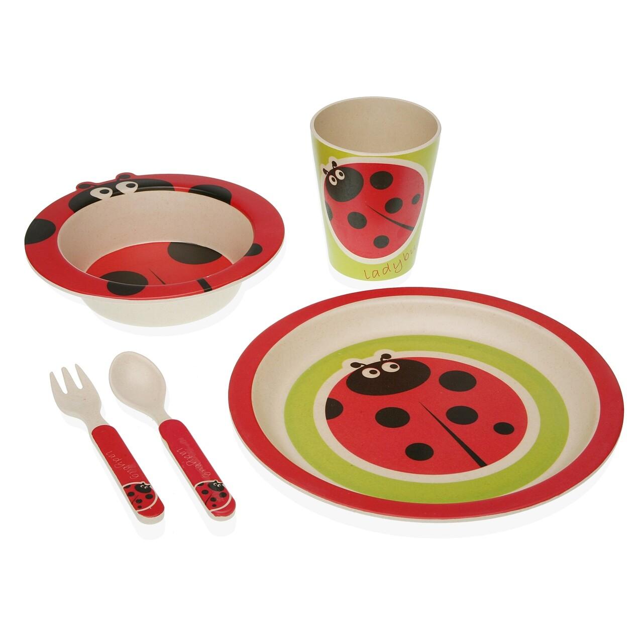Set de masa pentru copii, 5 piese, Versa, Ladybug, fibra de bambus, multicolor