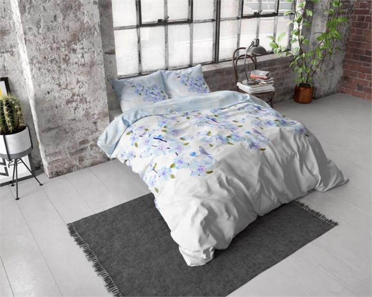 Lenjerie de pat dubla Sweet Flowers Turquoise, Royal Textile, 3 piese, 200 x 220 cm, 100% bumbac flanel, alb/albastru