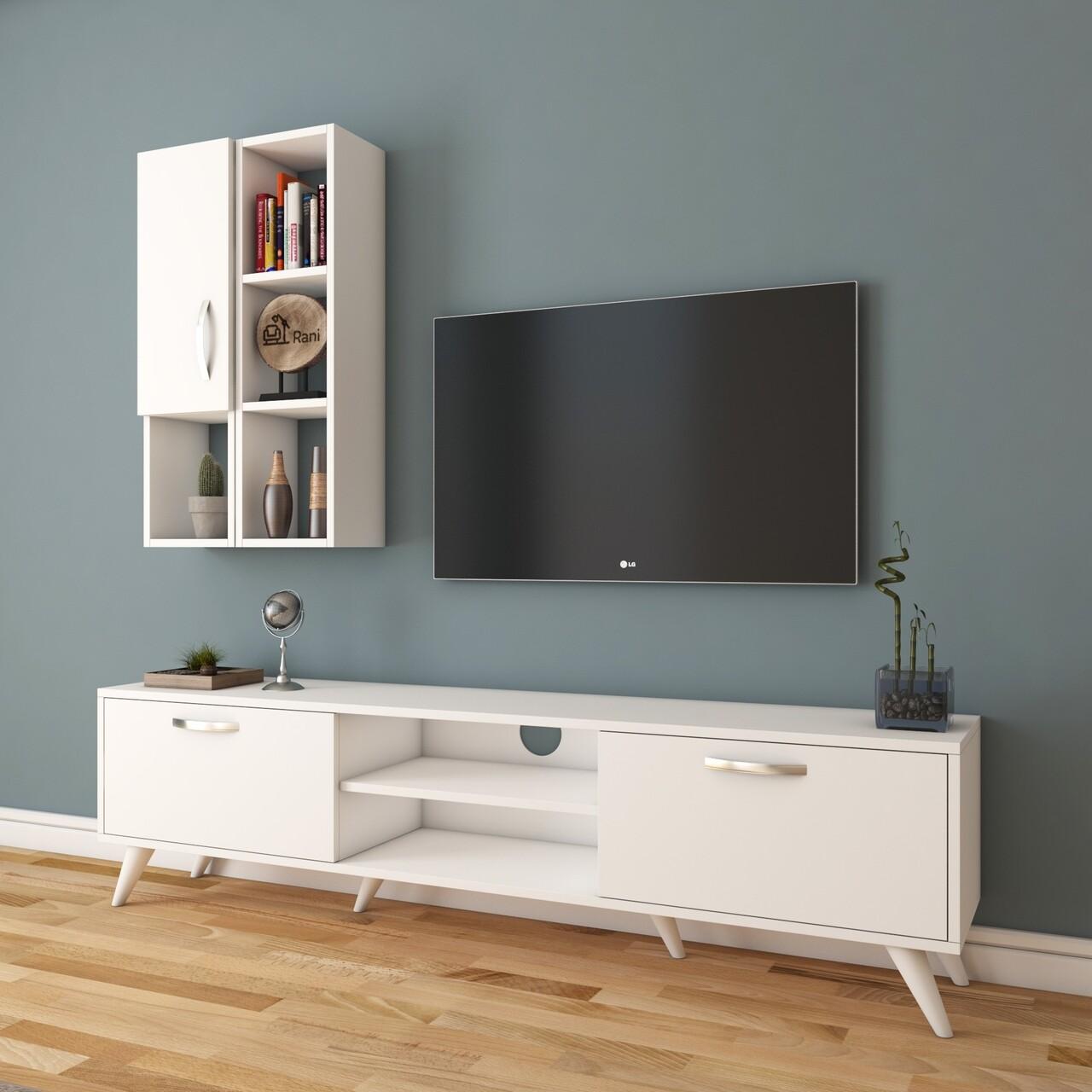 Comoda TV cu raft de perete si cabinet M38 - 304, Wren, 180 x 35 x 48.6 cm/90 cm, white