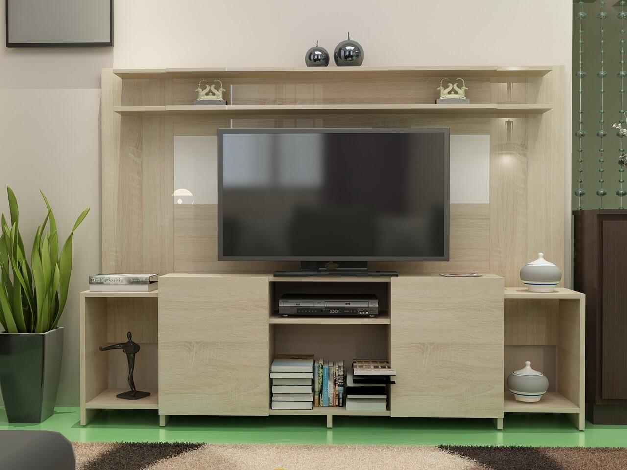 Comoda TV AKADIA, Gauge Concept, 180x31.4x150 cm, PAL, alb/sonomo
