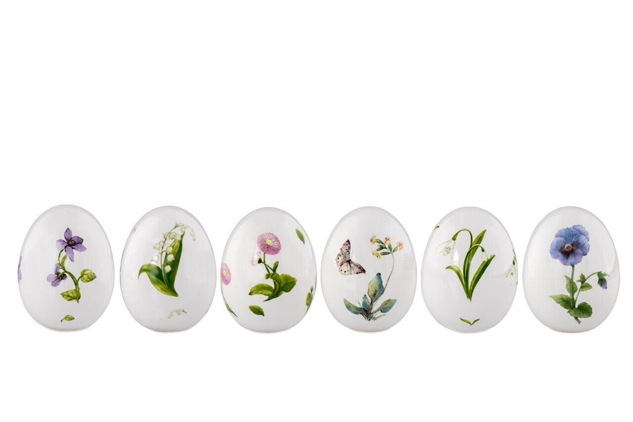 Set 6 oua decorative Flower, Hermann Bauer, portelan, multicolor