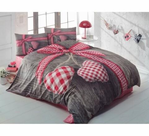 Lenjerie de pat pentru doua persoane Cotton Box, bumbac ranforce, Lovebox - Red