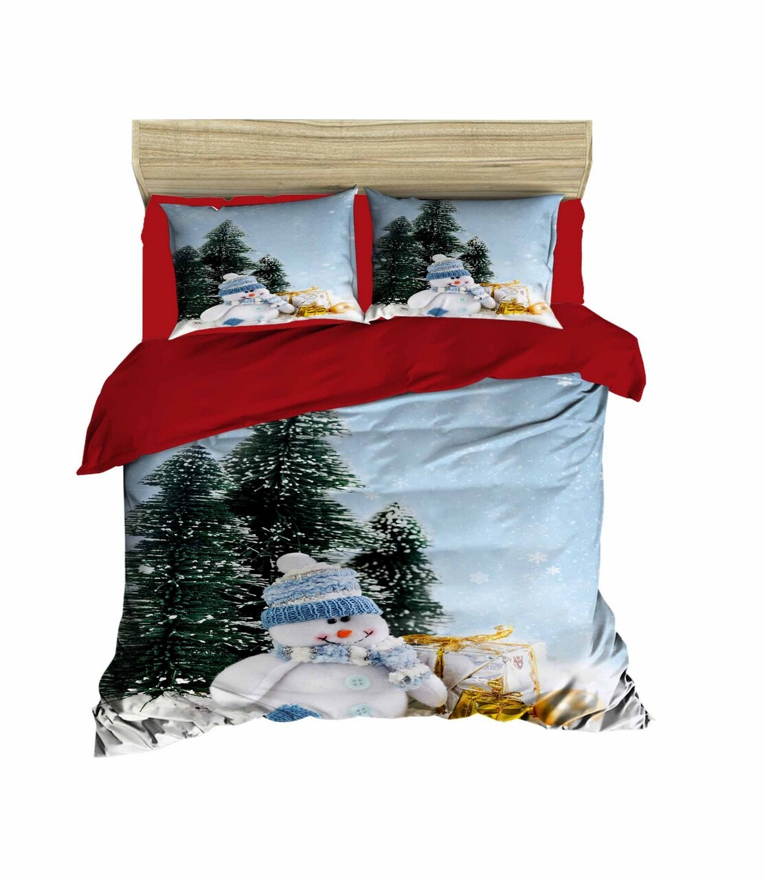 Lenjerie de pat pentru doua persoane, Pearl Home, 431, print 3D, policoton, 4 piese, multicolor