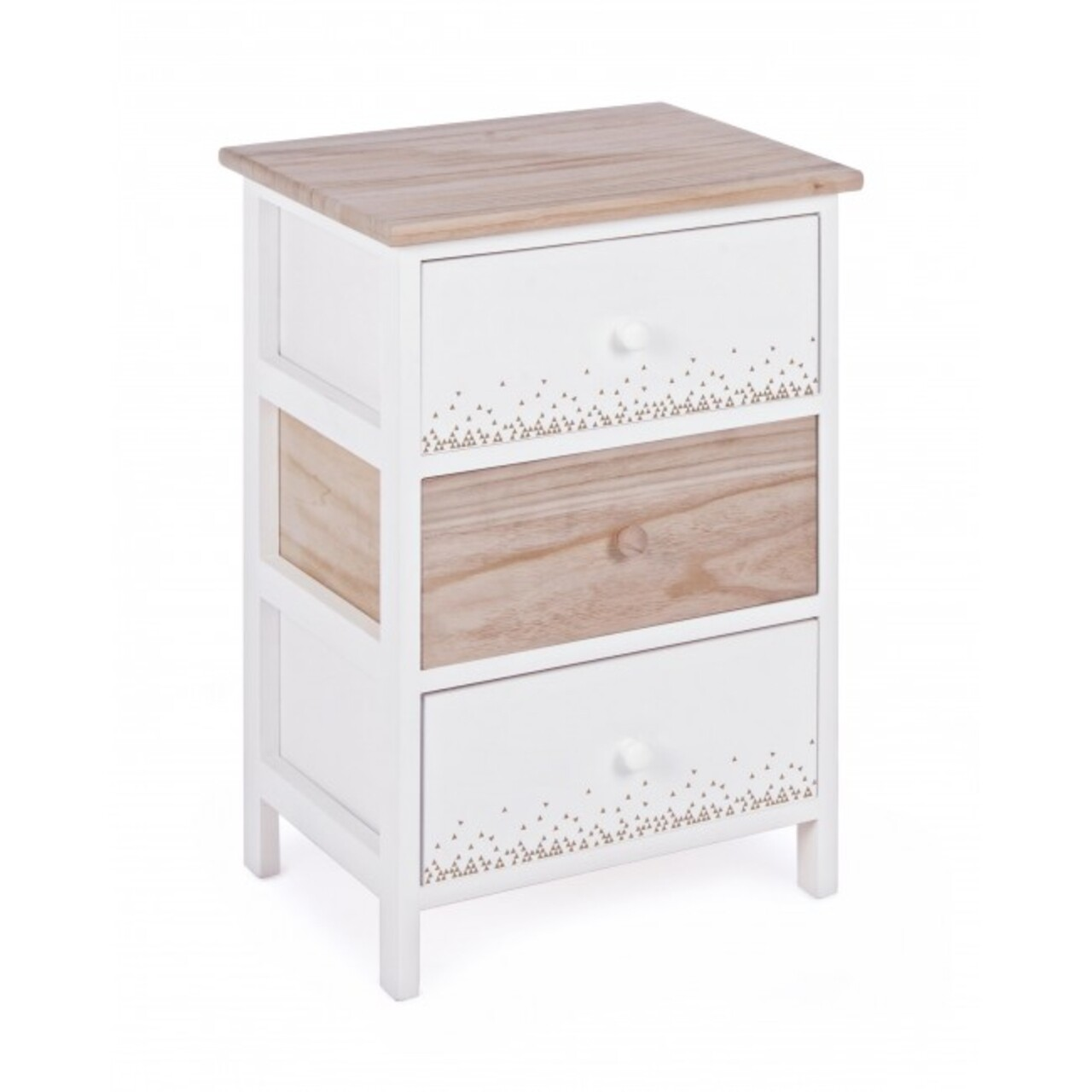 Comoda cu 3 sertare, Ally, Bizzotto, 40x29x58 cm, lemn de paulownia, alb/natural