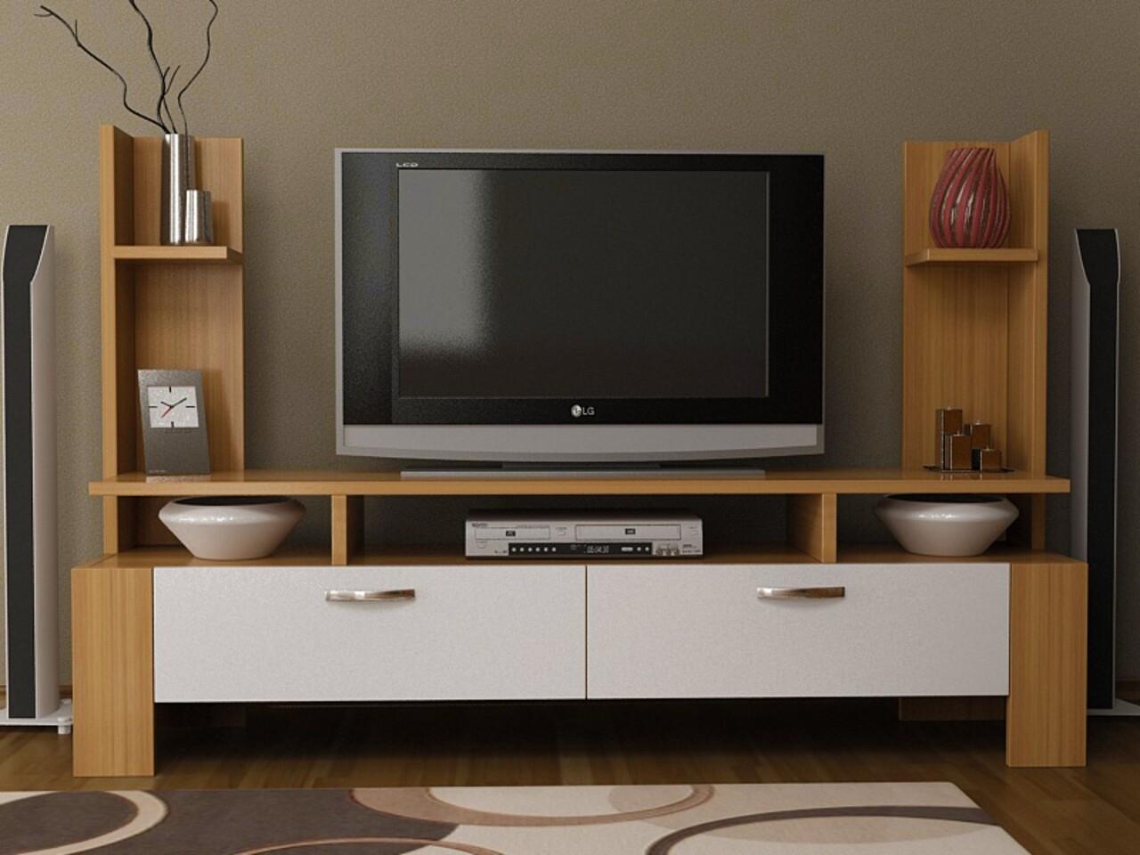 Comoda TV ETTORE, Gauge Concept, 120x30x90 cm, PAL, tec/alb