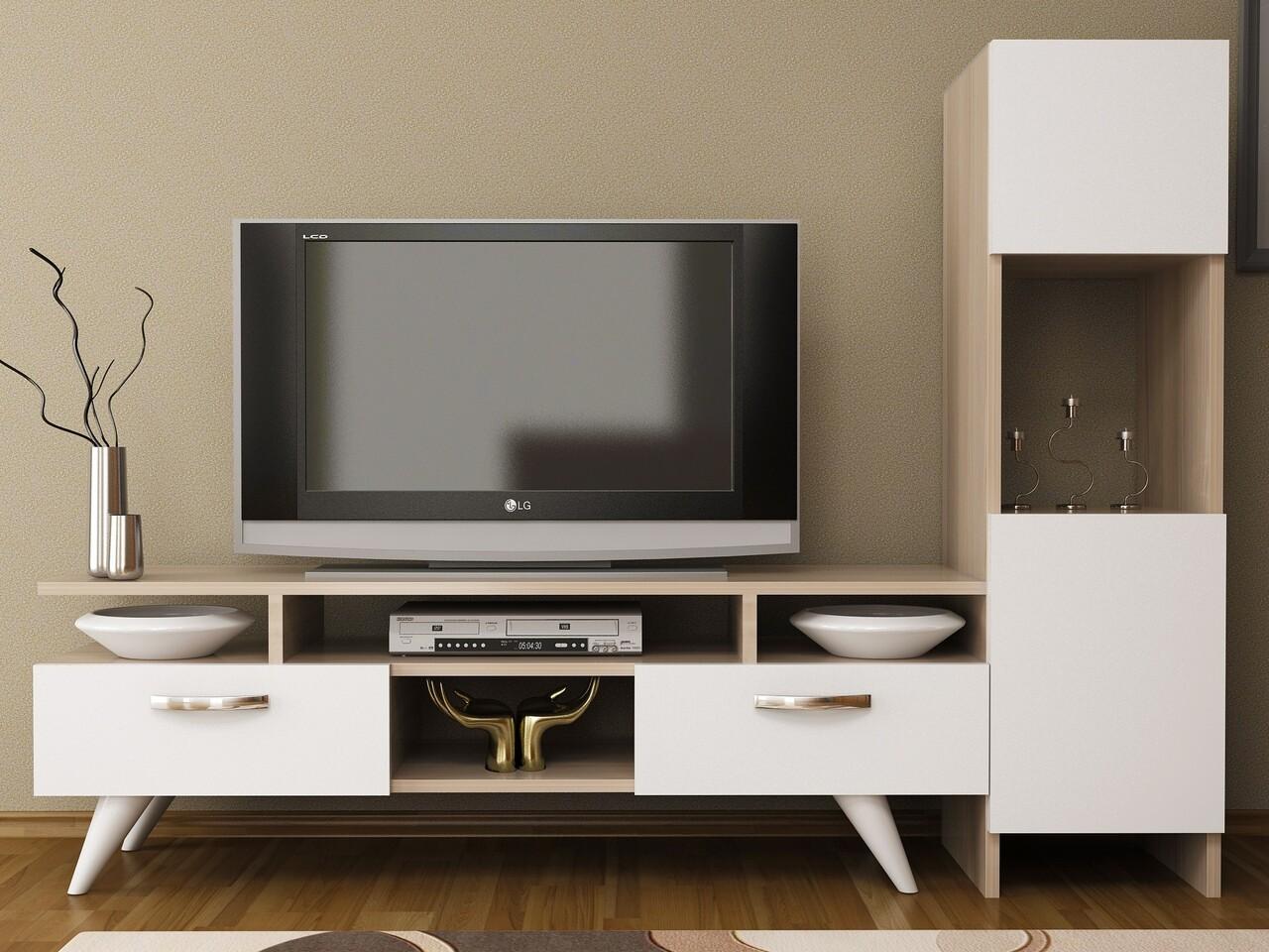 Comoda TV LANZA, Gauge Concept, 150x31x120 cm, PAL, cordoba/alb