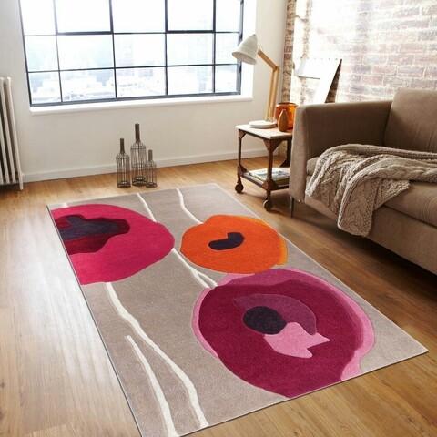 Covor Poppies Bedora,100x200 cm, 100% lana, rosu, finisat manual