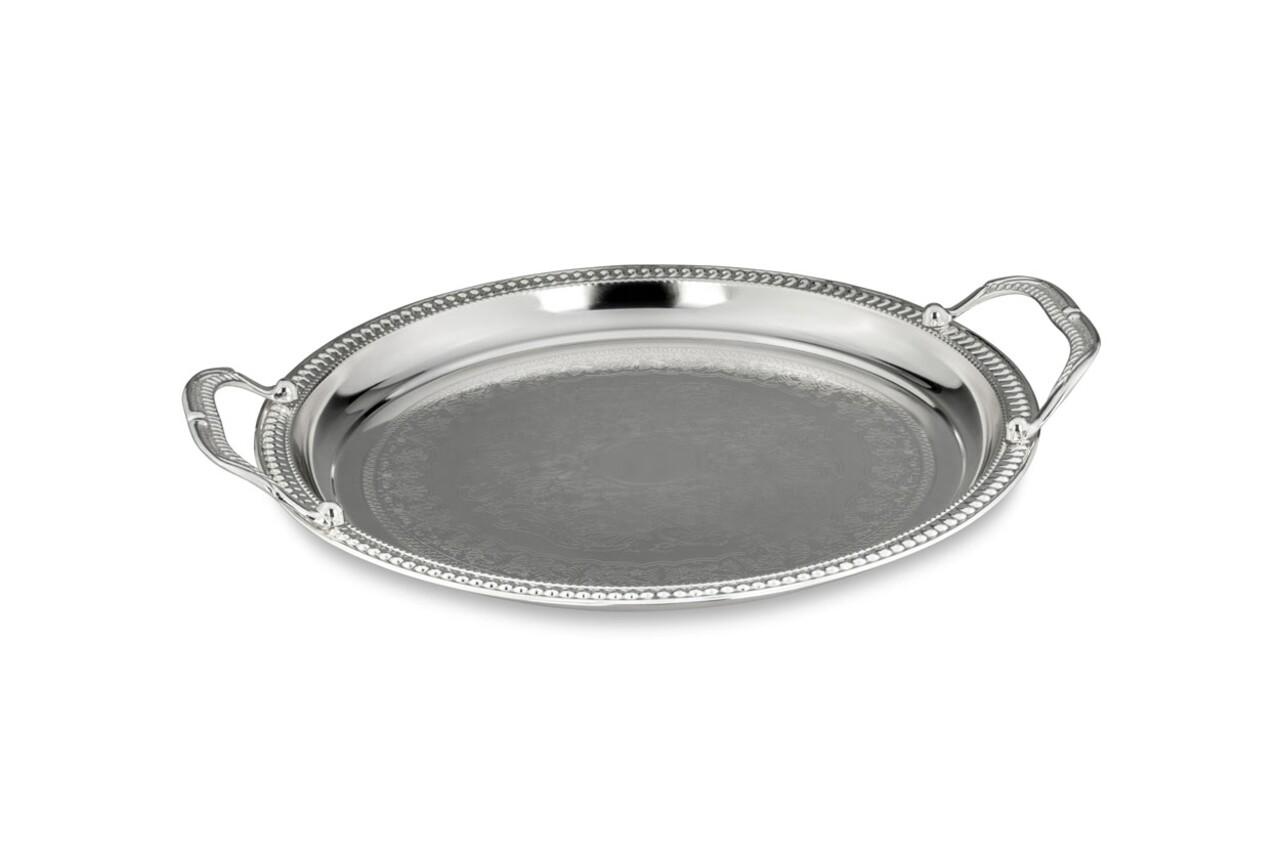 Tava pentru servire, Hermann Bauer, Ø 32,5 cm, otel inoxidabil, argintiu