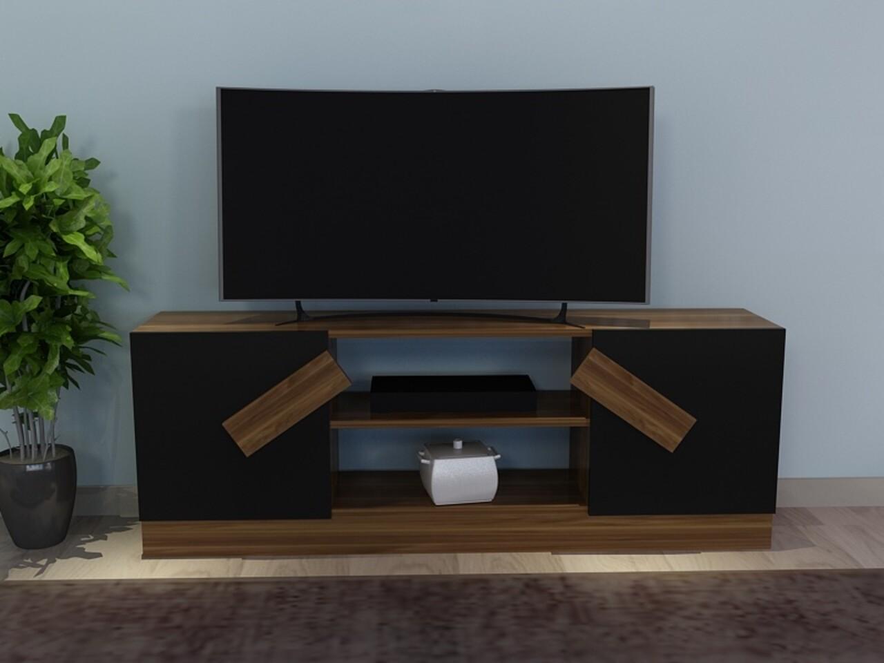 Comoda TV LADIN, Gauge Concept, 150x31x54 cm, PAL, aluna/negru