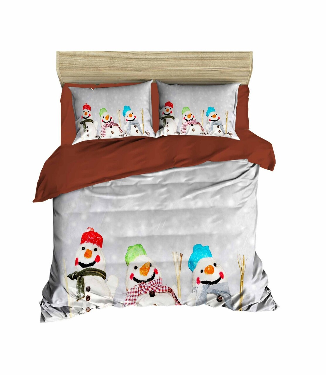 Lenjerie de pat pentru doua persoane, Pearl Home, 403, print 3D, policoton, 4 piese, maro/alb/gri