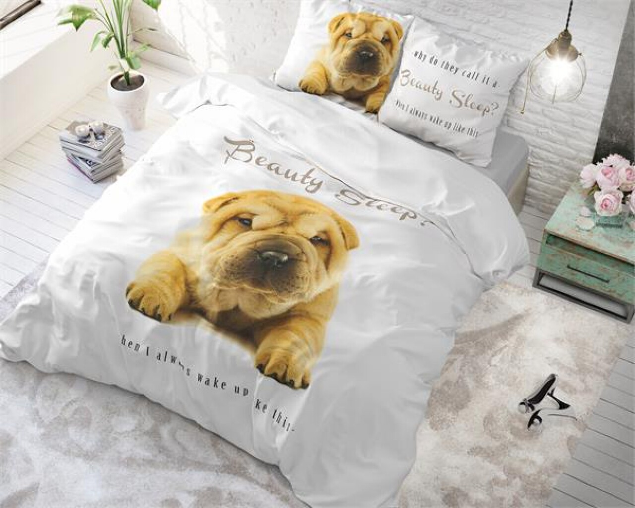 Lenjerie de pat pentru doua persoane Beauty Sleep White, Royal Textile,  100% bumbac