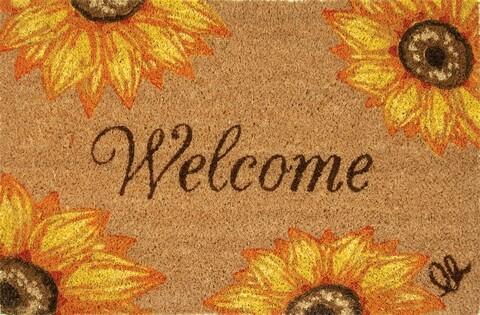 Covoras de intrare, Olivio Tappeti, Joy 13, Sunflower, 40 x 60 cm, fibra cocos, multicolor