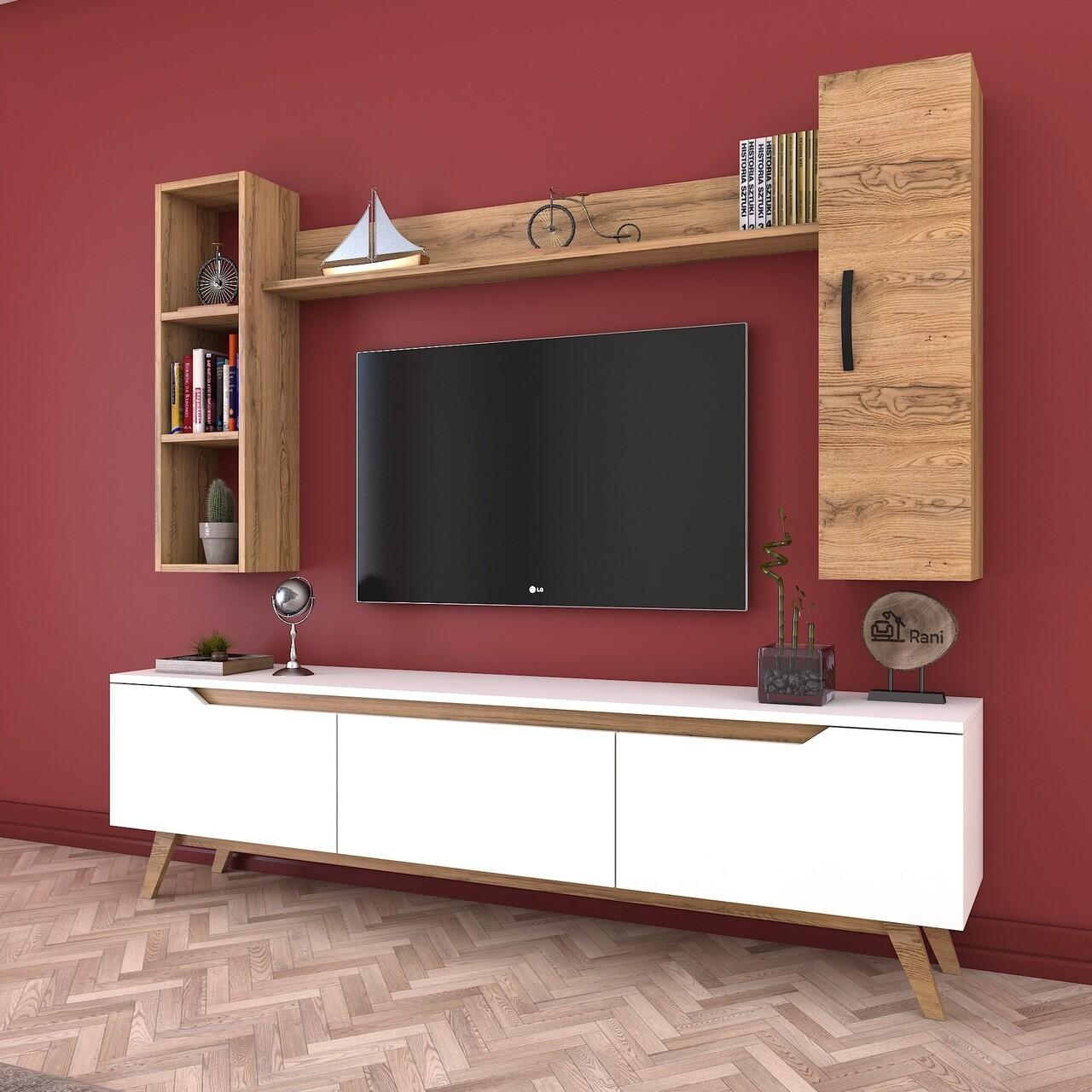 Comoda TV cu 2 rafturi de perete si cabinet M9 - 385, Wren, 180 x 35 x 48.6 cm/90 cm/133 cm, white/walnut