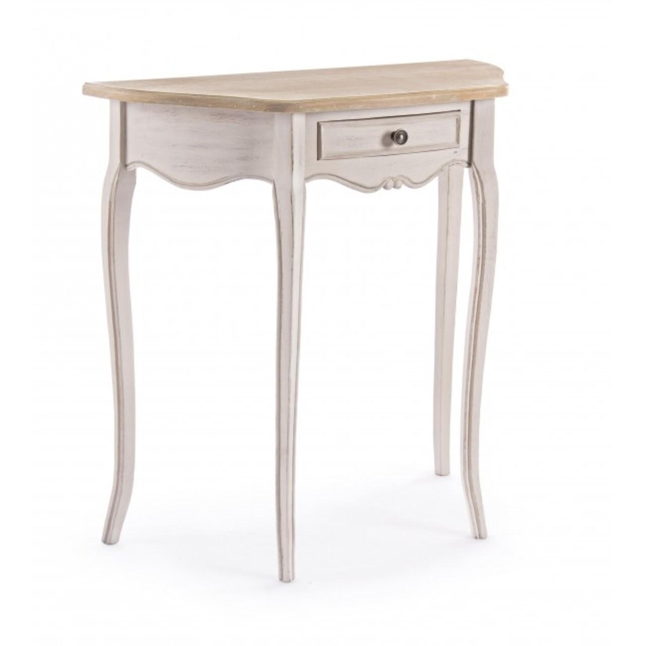 Consola cu 1 sertar, Clarisse, Bizzotto, 80x35x80 cm, lemn de paulownia