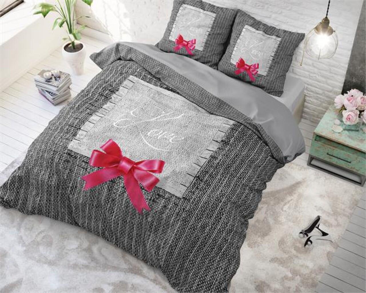 Lenjerie de pat pentru doua persoane Strictly in Love Anthracite, Royal Textile,100% bumbac