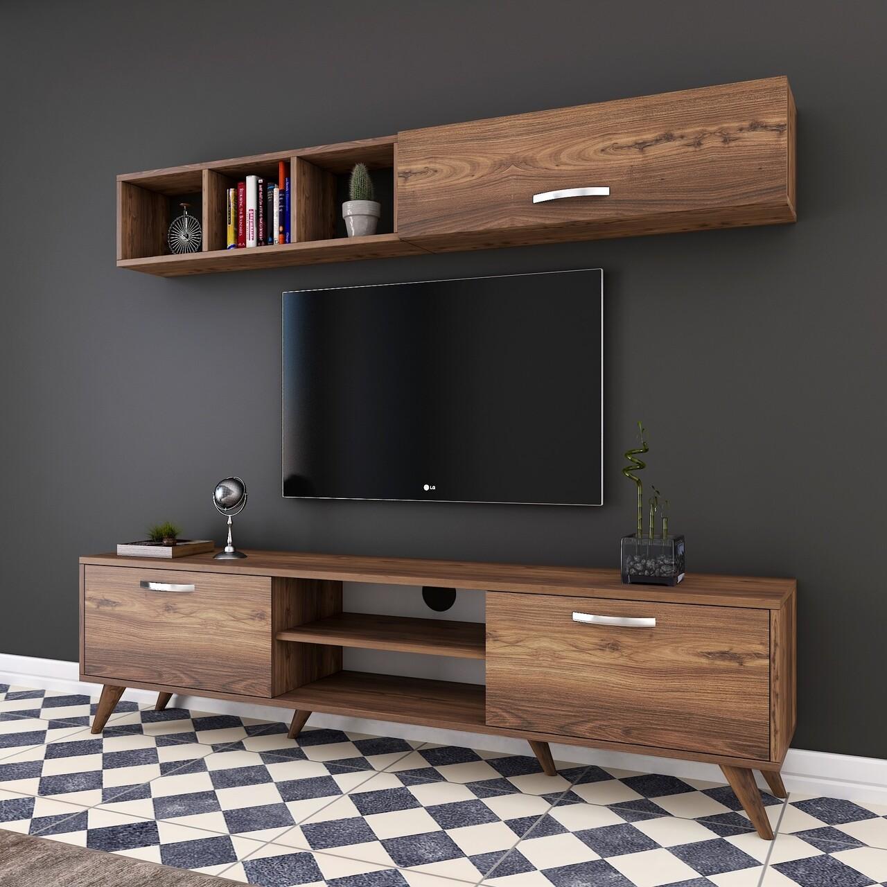 Comoda TV cu raft de perete si cabinet M8 - 246, Wren, 180 x 35 x 48.6 cm/90 cm, walnut
