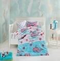 Lenjerie de pat pentru copii Fishy, Nazenin Home, 4 piese,100% bumbac ranforce, multicolora