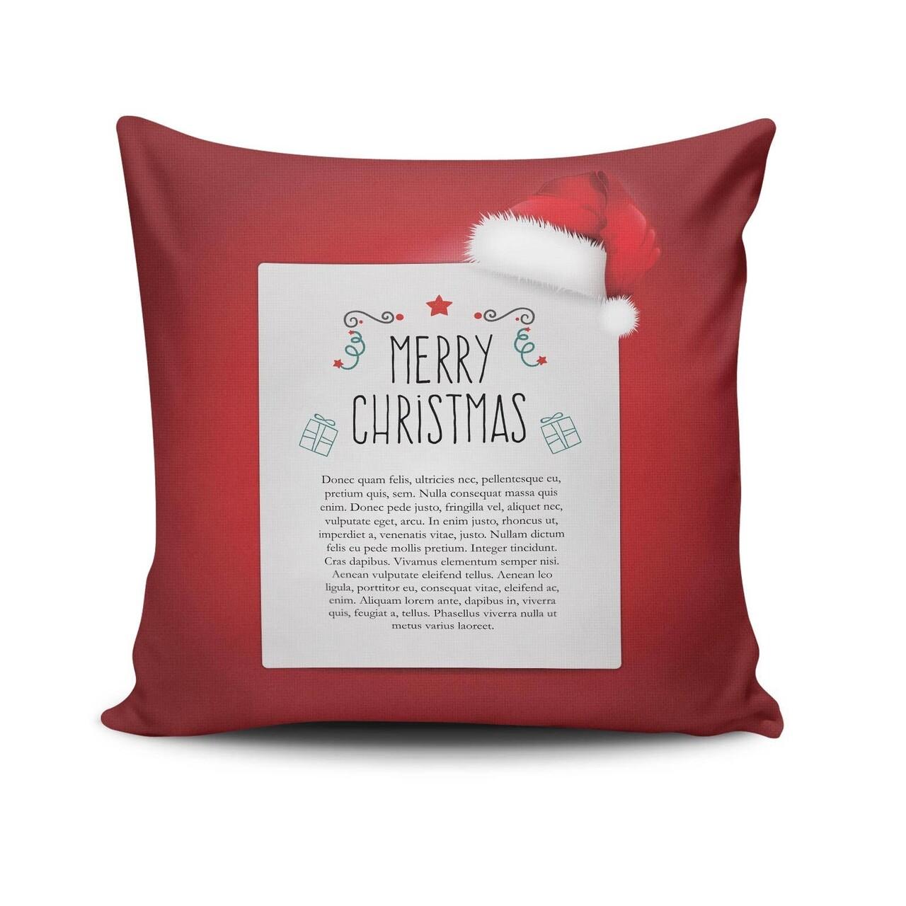 Perna decorativa, Christmas NOELKRLNT-12, 43x43 cm, policoton, multicolor