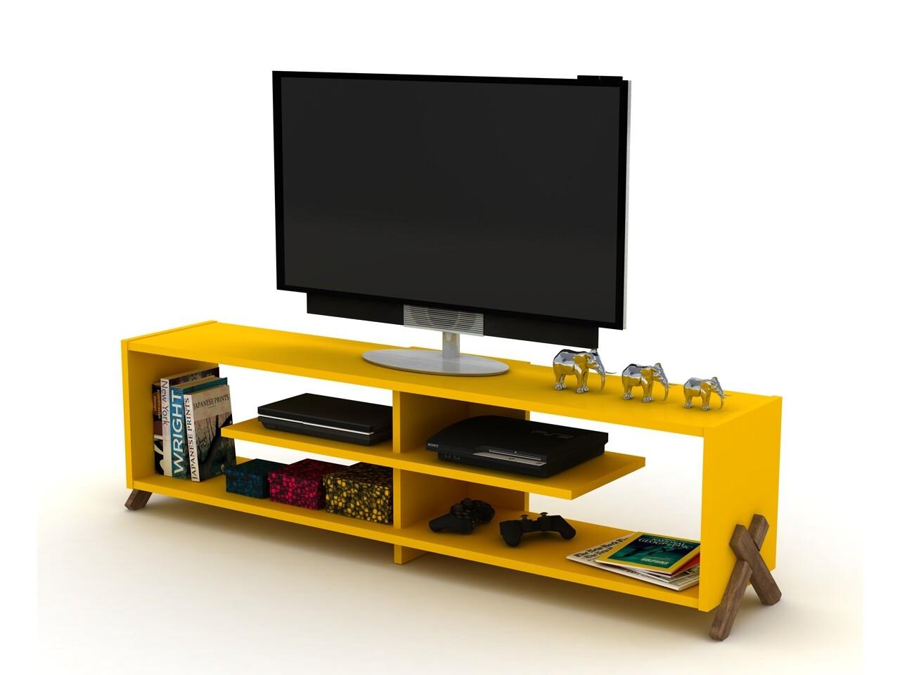 Comoda TV Rafevi Kipp, 145 x 31 x 39 cm, PAL/lemn, walnut/galben