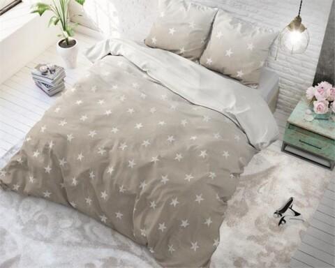 Lenjerie de pat pentru doua persoane Twinkle Stars Sand, Sleeptime, Cotton Blended