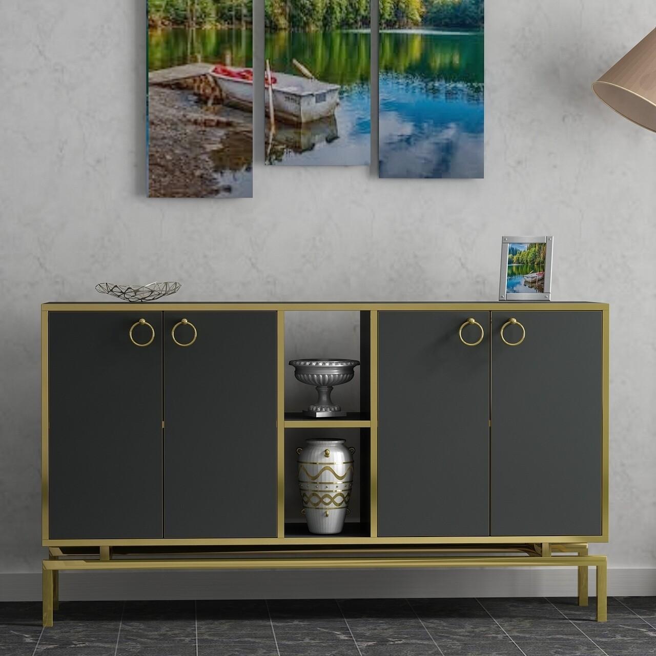 Comoda ASTORIA-C, Gauge Concept, 150x37x85 cm, PAL, negru/auriu