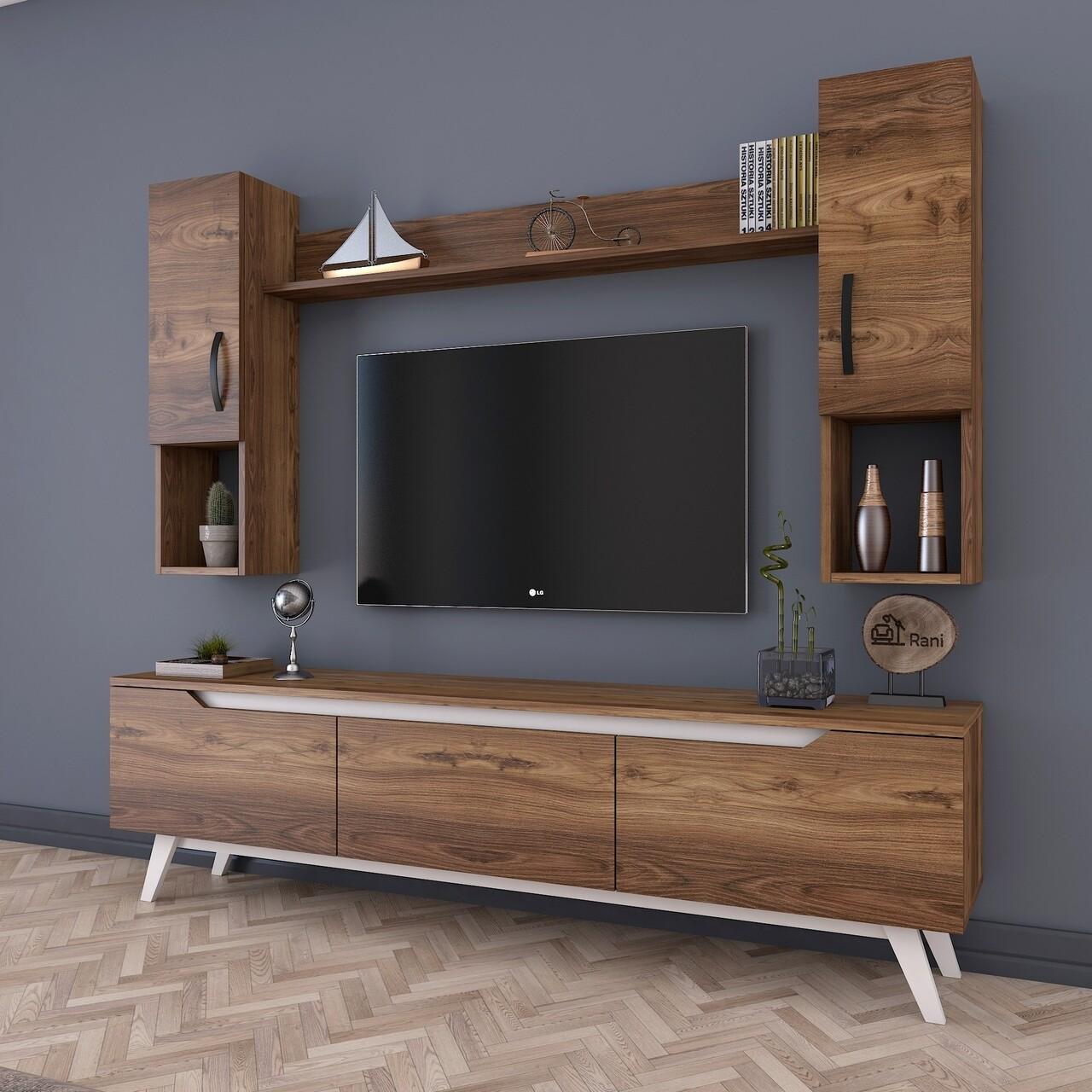 Comoda TV cu raft de perete si 2 cabinete M27 - 833, Wren, 180 x 35 x 48.6 cm/133 cm, walnut/white