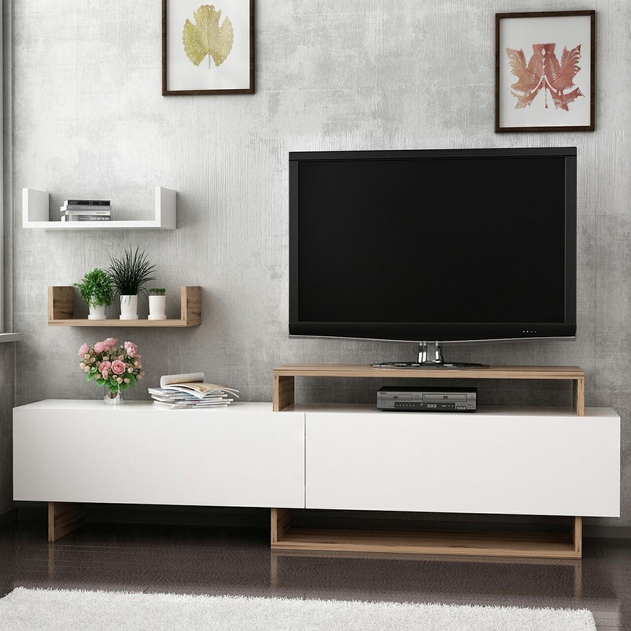 Comoda TV cu 2 rafturi de perete Zera, Maison in Design, 180 x 30 x 48 cm, natural/negru