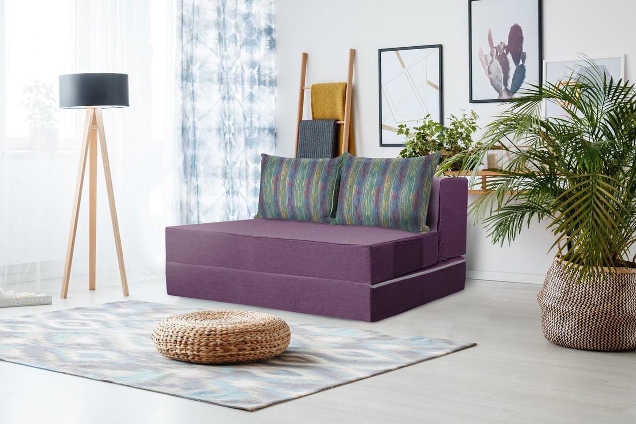 Canapea extensibila Urban Living Bedora 136x80x40 cm Purple/Stripes