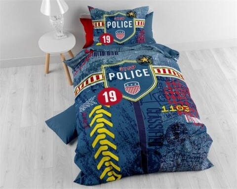 Lenjerie de pat pentru o persoana Policeman Blue, Royal Textile, 100% bumbac