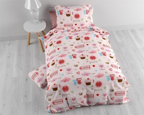 Lenjerie de pat pentru o persoana, Small Love Pink,  Sleeptime, 100% bumbac