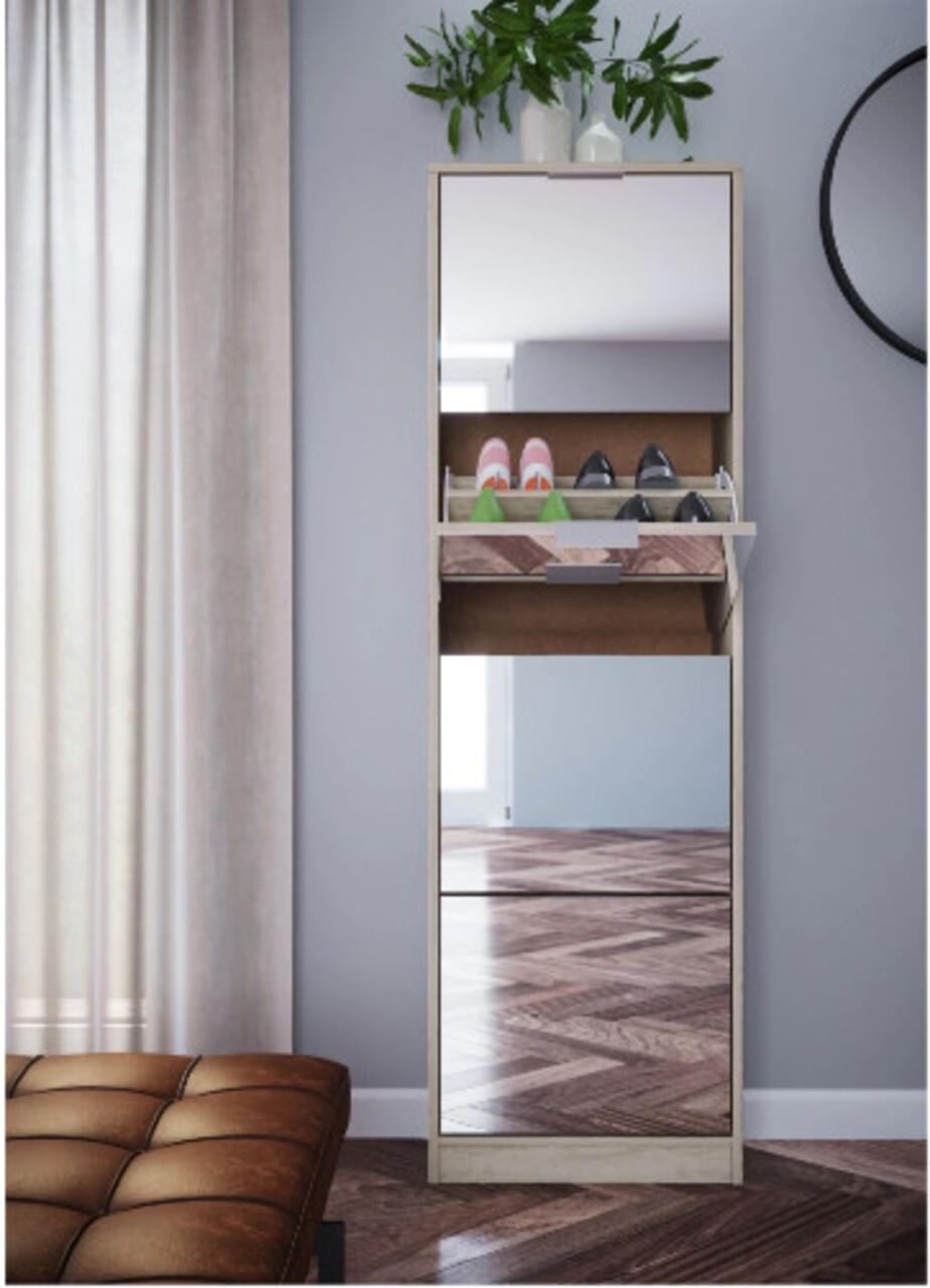 Pantofar cu oglinda, Bedora, City 4057, 50 x 25 x 163 cm, PAL/ABS, sonoma