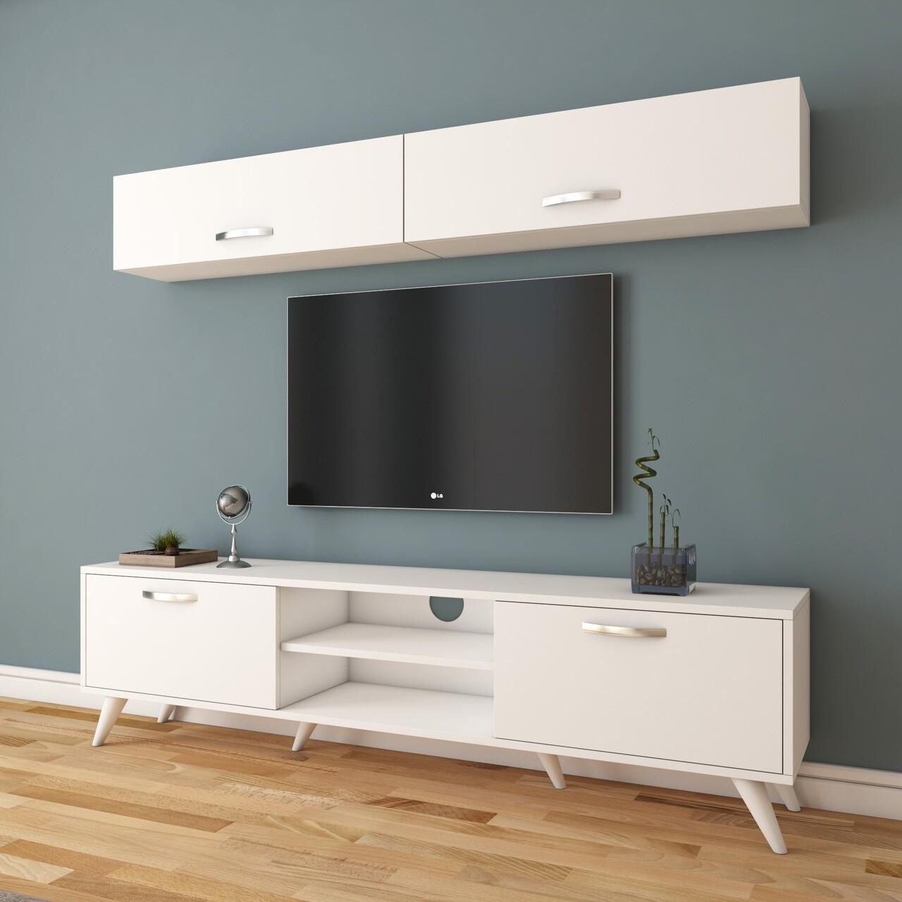 Comoda TV cu 2 rafturi de perete M19 - 267, Wren, 180 x 35 x 48.6 cm/90 cm, white