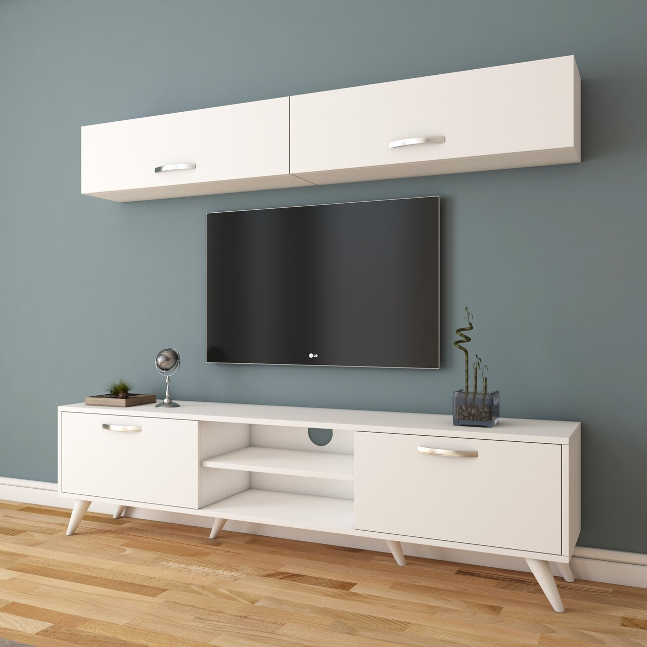 Mobilier Living Wren, Comoda TV , 2 x Dulap suspendat,  M19 - 267, Alb