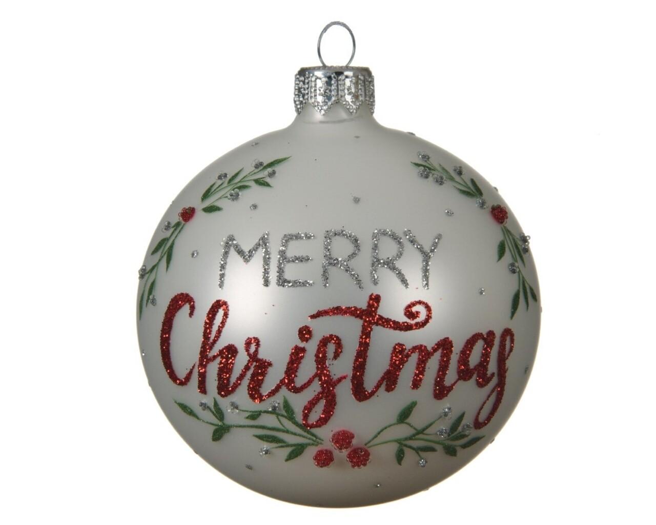 Glob Merry Christmas, Decoris, Ø8 cm, sticla, alb