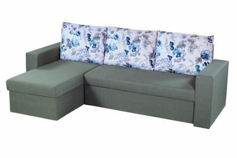 Coltar extensibil Oslo Grey Blue Flower Bedora, cu lada de depozitare, 247x148x78 cm
