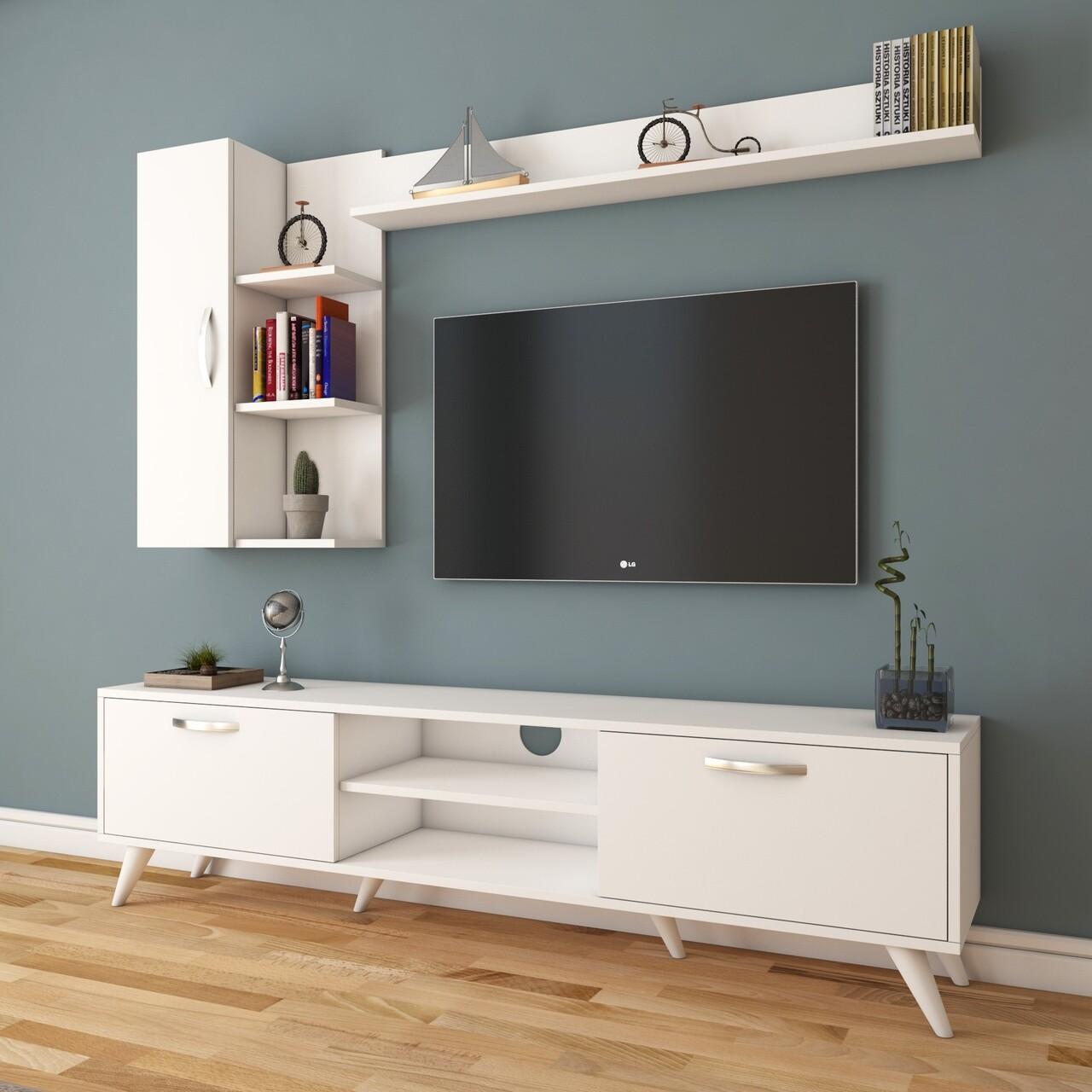 Comoda TV cu 2 rafturi de perete si cabinet M36 - 299, Wren, 180 x 35 x 48.6 cm/90 cm/133 cm, white