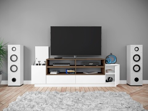 Comoda TV, Bedora, City 6225, 190 x 40.5 x 59 cm, PAL, alb/maro