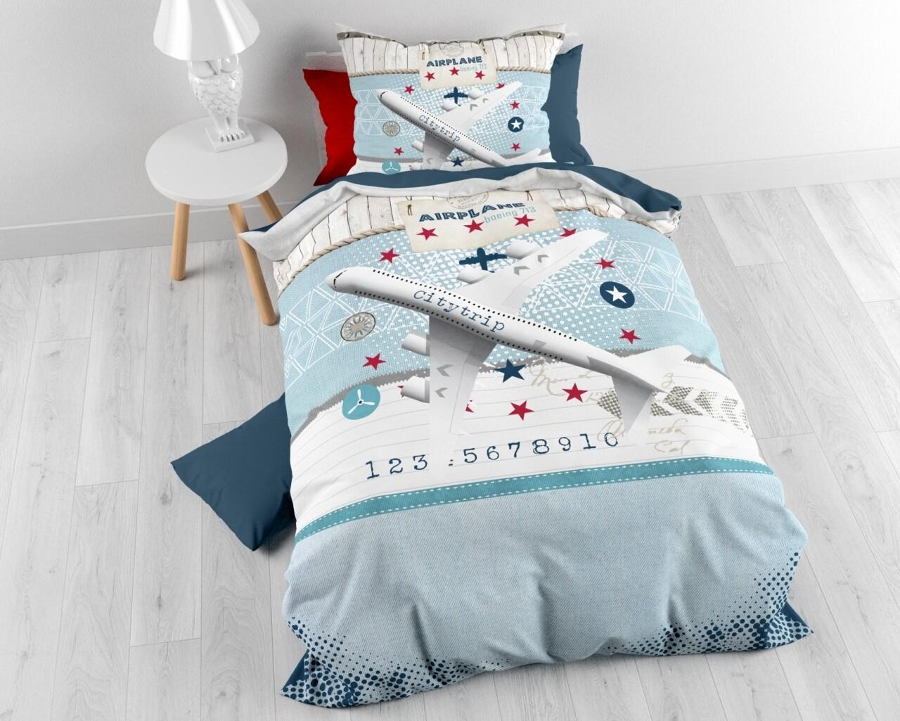 Lenjerie de pat pentru o persoana Airplane Blue, Royal Textile, 100% bumbac
