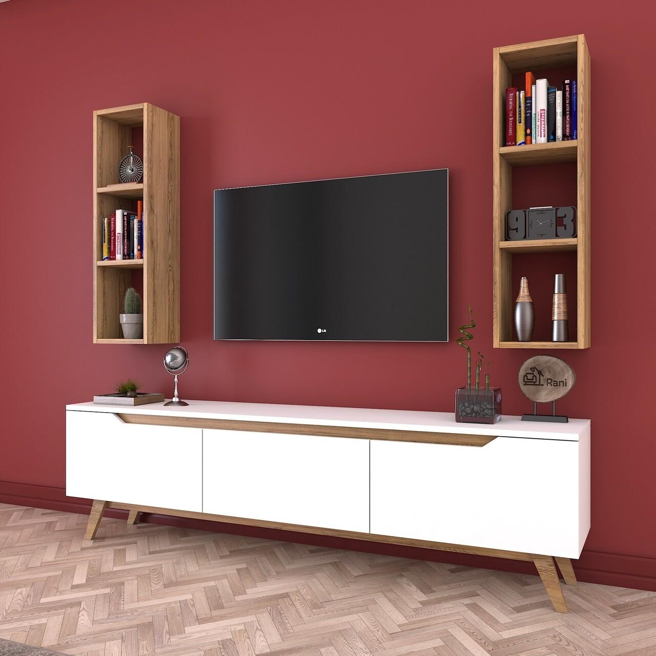 Comoda TV cu 2 rafturi de perete M6 - 384, Wren, 180 x 35 x 48.6 cm/90 cm, white/walnut