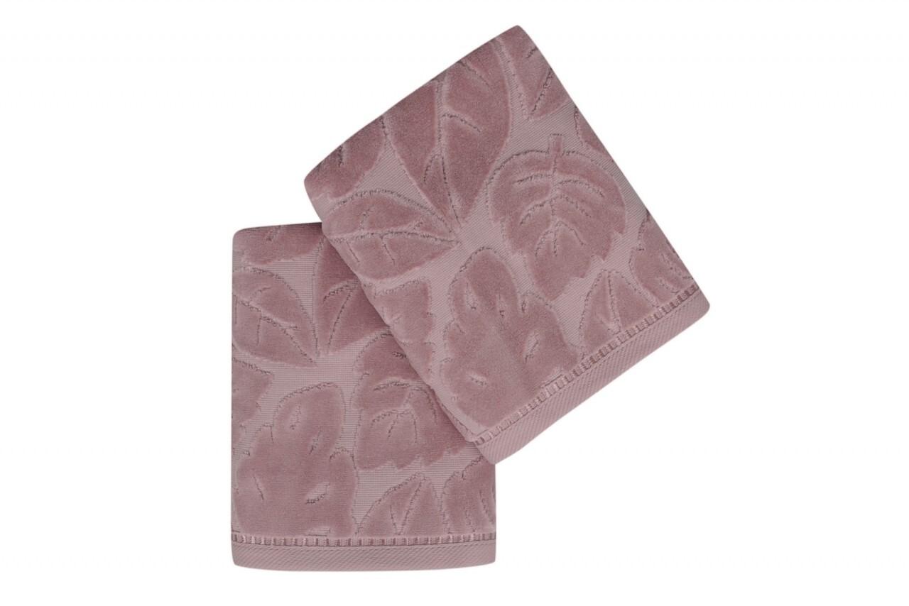 Set 2 prosoape de maini 50x90 cm, 100% bumbac, Saheser, Kısmi Kadife Yaprak  Dusty Rose, roz prafuit