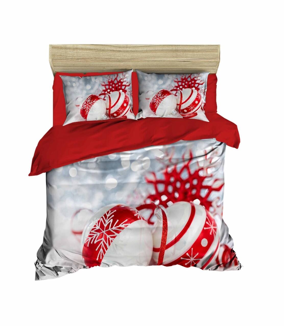 Lenjerie de pat pentru doua persoane, Pearl Home, 406, print 3D, policoton, 4 piese, rosu/alb/gri