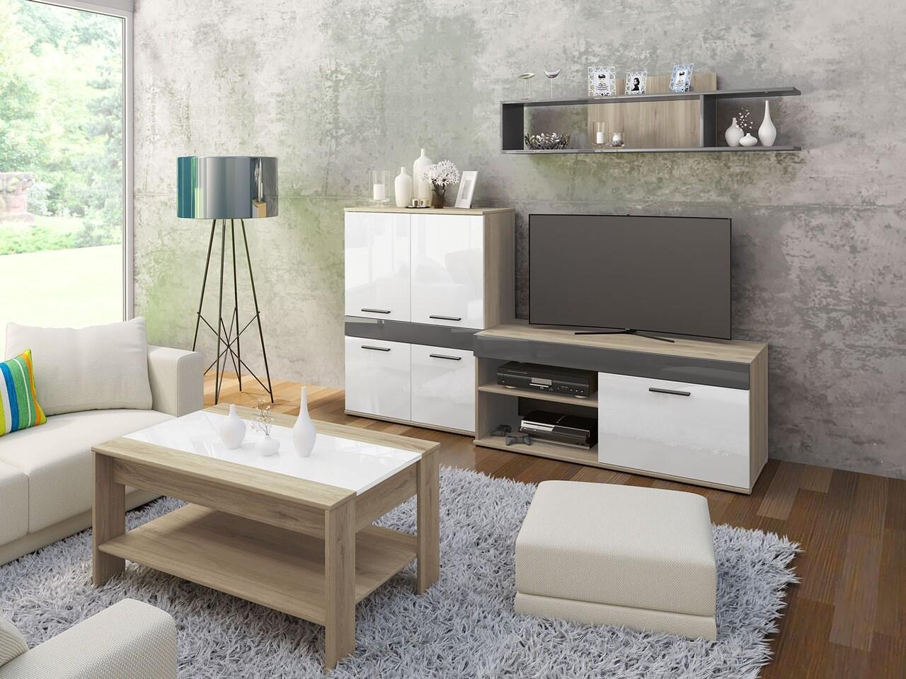 Mobilier living, Bedora, City 9044, 200 x 46 x 170 cm, PAL, sonoma/alb