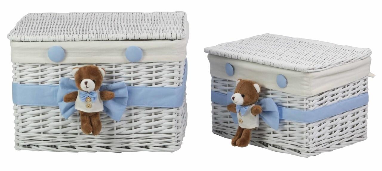 Set 2 cosuri din salcie Blue Bear, Bedora, salcie/material textil, alb/bleu
