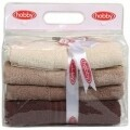 Set 4 prosoape Hobby Rainbow Brown, 100% bumbac, 50x90 cm