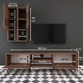 Comoda TV cu 2 cabinete M39 - 305, Wren, 180 x 35 x 48.6 cm/90 cm, walnut