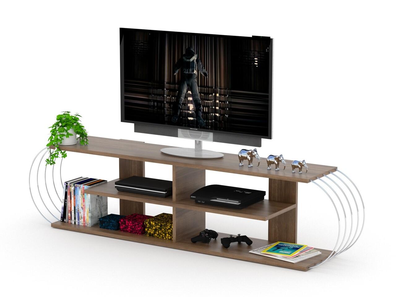 Comoda TV Rafevi Case, 173 x 30 x 42 cm, PAL/metal, walnut/chrome
