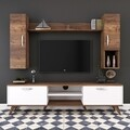 Comoda TV cu raft de perete si 2 cabinete M22 - 869, Wren, 180 x 35 x 48.6 cm/90 cm/133 cm, white/walnut