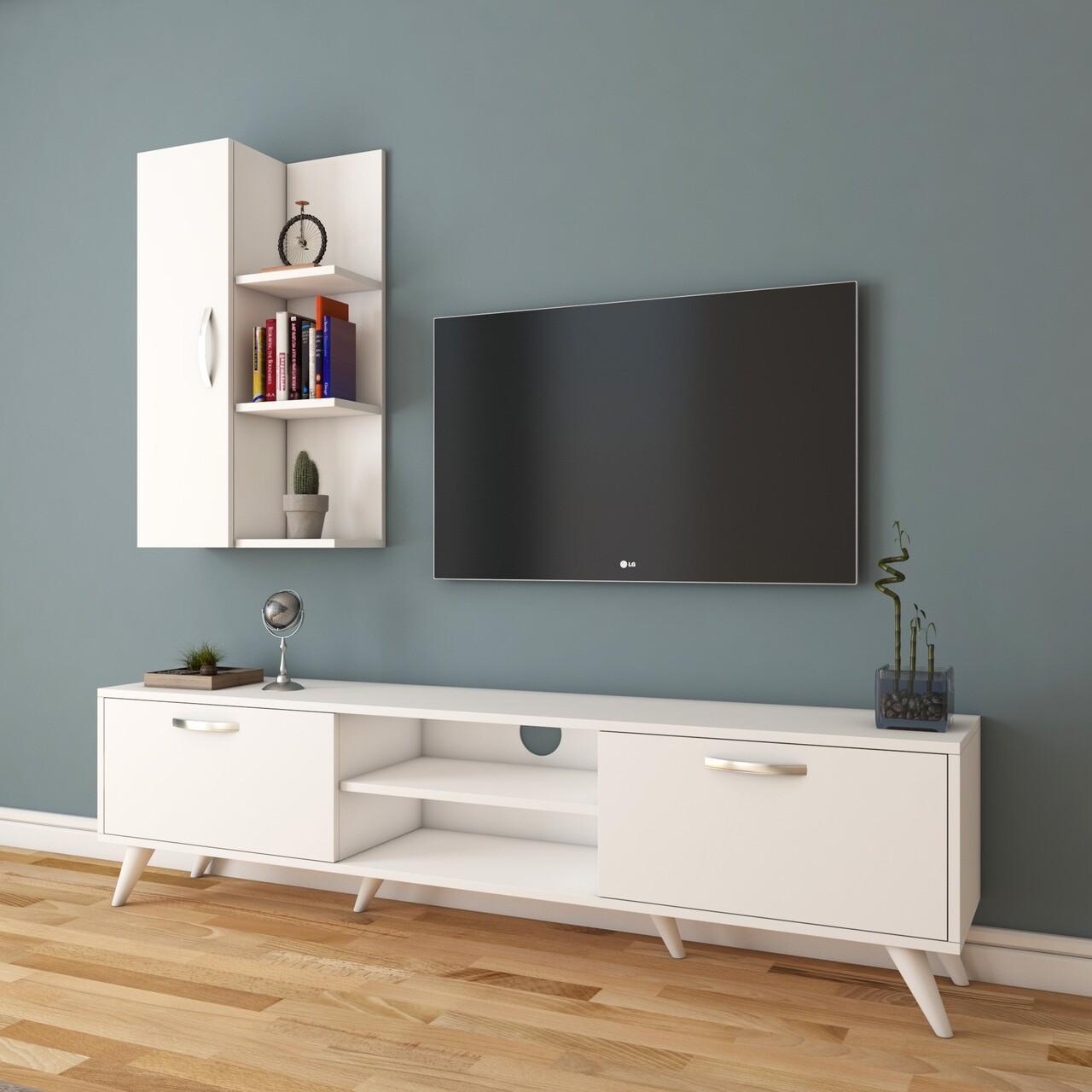 Comoda TV cu raft de perete si cabinet M47 - 322, Wren, 180 x 35 x 48.6 cm/90 cm, white
