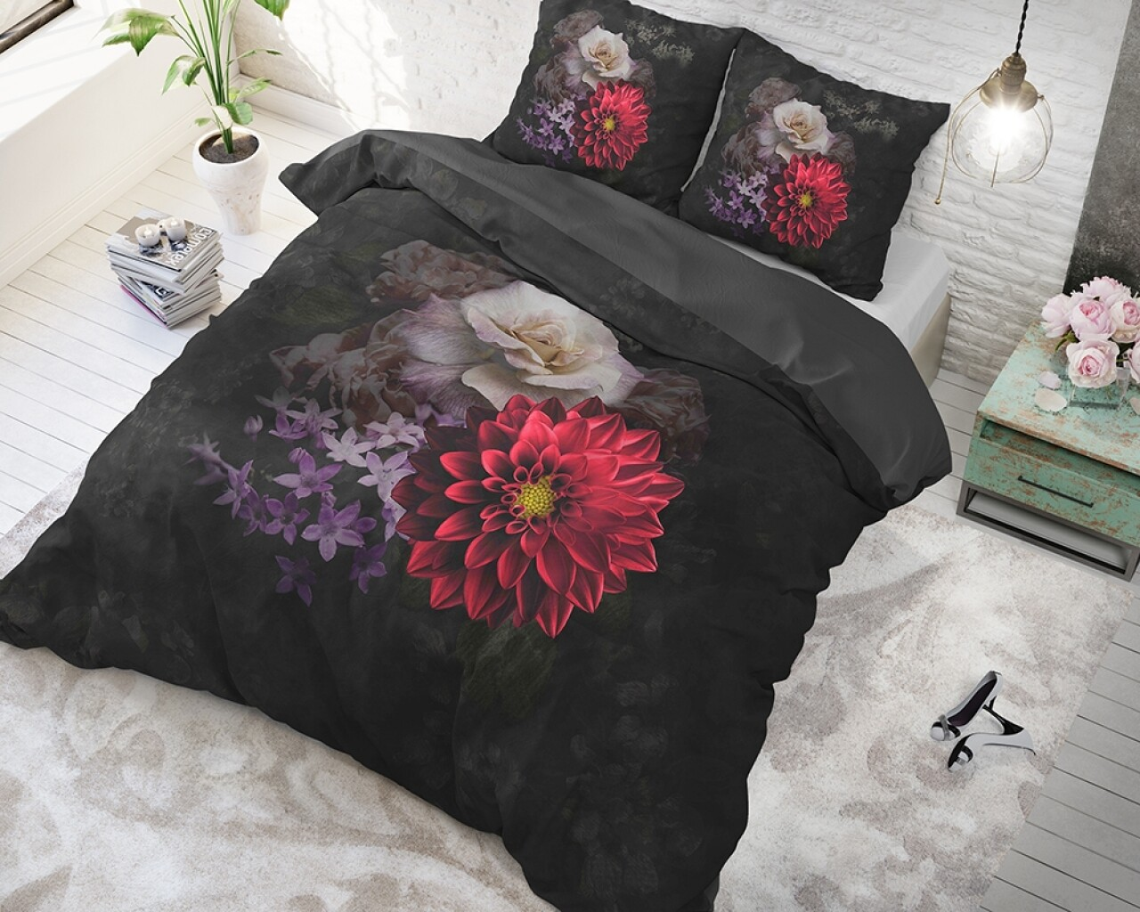 Lenjerie de pat pentru doua persoane Elegant Flower Black, Sleeptime, Cotton Blended