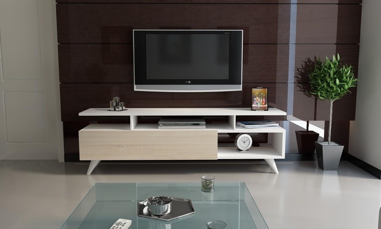 Comoda TV ABREE1, Gauge Concept, 120x31x47 cm, PAL, alb/sonomo